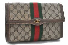 Authentic GUCCI Web Sherry Line Clutch Bag GG PVC Leather Brown A4467