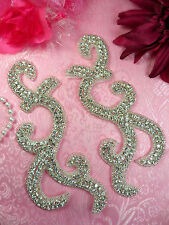XR350 Crystal Rhinestone Appliques Mirror Pair Silver Beaded Sewing Patch 6.5""