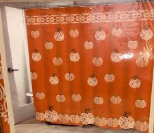 Harvest Autumn Halloween Thanksgiving Shower Curtain Damask Pumpkins Bathroom
