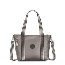 Kipling Small Tote Bag ASSENI S w Should Strap CARBON METALLIC Grey SS20 RRP £77