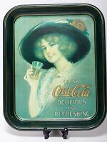 Vintage 1972 Coca Cola Metal Tin Coke Serving Tray 1912 Hamilton King Girl