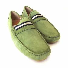 S-1325970 New Bally Wabler Moss Suede Driver Size US 10.5D Marked 9.5E