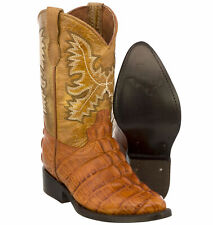 Boys Toddler Cognac Cowboy Boots Crocodile Tail Exotic Print Leather J Toe Kids
