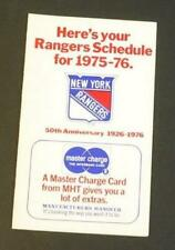 1975-76 New York Rangers Hockey Pocket Schedule WOR-TV