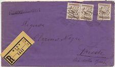 AUSTRIA OSTERREICH BUSTA REGISTERED 1920 TO TRIESTE ITALY - 3 STAMPS