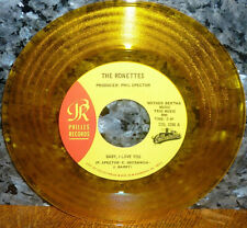 """*<* RONETTES GOLD VINYL """"BABY I LOVE YOU/BEST PART BREAKIN UP"""" UNPLAYED MINT 45!"""