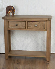 Solid Oak 2 Drawer Console Hall Lamp Side Table in Chunky Dorset Country