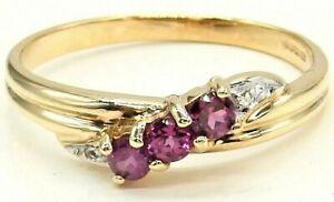 9CT GOLD RING RUBY DIAMOND ETERNITY SIZE N 9 CARAT YELLOW GOLD HALLMARKED TWIST