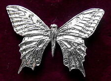 Detailed Pewter Butterfly Brooch Pin  Signed
