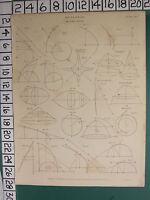 1816 Datato Antico Stampa ~Analisi~ Rectification Sezioni Tangente Diagrammi