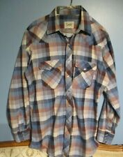 VTG Lee COWBOY Western Plaid Snap Shirt Large 16 Collar  34 sleeves USA