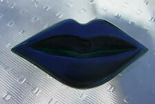 RARE 1950's Vintage Bakelite Green CARVED LIPS MOUTH LIPS Brooch Pin Halloween