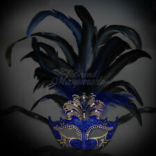 Masquerade Mask Feather Black Venetian Mardi Gras Masks for Women Blue M33136