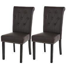 Lot de 2 chaises de salle à manger Chesterfield II ~ brun foncé, pieds foncés