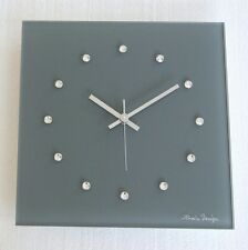 Swarovski Elements Design Glas Funk Wanduhr grau silber Wohnzimmeruhr modern