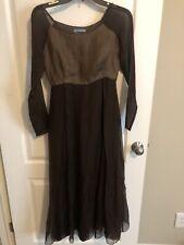 Rare Vintage Prada Silk Dress Hand Tailored 100% Silk Brown Hippie Gypsy 2 38