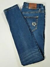 MAURICES Womens JEGGING Low Rise Skinny Jeans Distressed Dark Wash Size 1/2 R