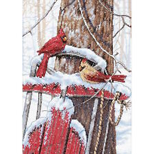 Dimensions Needlecrafts Cardinals On Sled Counted Cross Stitch Kit