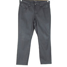 """Eileen Fisher 12 L Wax Coated Ankle Pants Black Organic Cotton Blend 25"""" Inseam"""