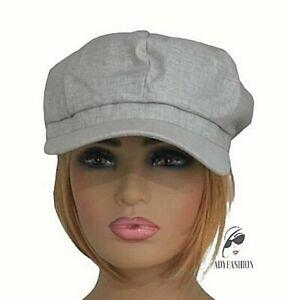 100% Cotton Women's Baker Boy Hat Ladies Newsboy Spring Summer Cap Light Grey
