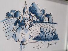 Guillemot Thierry-Cancale Dessin/pastel-FEMME-lavandière- Bretagne-cadre-drawing