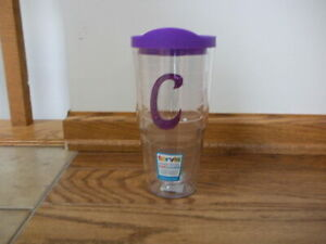 NEW 24 oz Tervis Tumbler Hot Cold Travel Cup-Purple Lid & C with Sequins