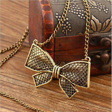 Fashion Womens Vintage Jewelry Bow Bowknot Pendant Long Chain Statement Necklace