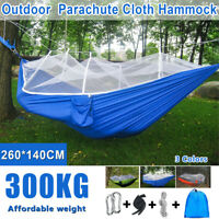 661lbs Portable Double Camping Hammock  Parachute Fabric w/ Mosquito Net