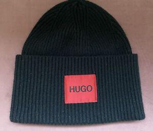 HUGO BOSS LOGO BEANIE HAT Black - Wool Blend RRP £65 - Immaculate