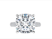 Halo Micro Pave Engagement Wedding Ring 5.60 Ct Moissanite Cushion Forever One