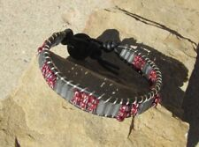 TRADE BEADS AND VINTAGE GLASS BRACELET GRAY GLASS  AND DARK RED TRADE BEADS
