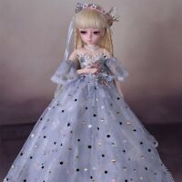 45cm BJD SD Doll Female Body + Free Face Make Up Free Eyes Clothes Wig Full Set
