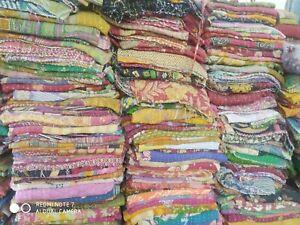 Wholesale Lot Kantha Quilt Floral Vintage Blanket Cotton Reversible Bedspread