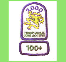 2000 Girl Scout COOKIE PATCH Frog Leap to the Future+100 Boxes Sold Rocker NEW
