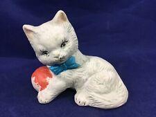 Vintage White Cat Figurine with Yarn Kitty Cat Home Decor Kitten Figure