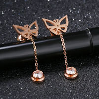 Hollow Butterfly Tassels CZ Rose Gold GP Surgical Stainless Steel Stud Earrings