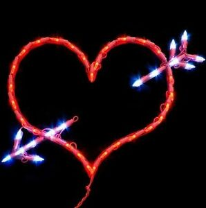 Lighted Heart w/Arrow Valentine 43 Mini Lights Window/Wall/Door/Yard Decor (New)