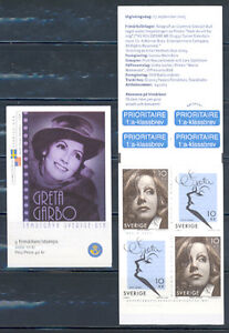 GRETA GARBO JOINT SWEDEN-USA BOOKLET & PLATE BLK MNH