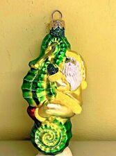 "Patricia Breen Hi Ho Santa Seahorse Green Yellow Glass Glitter 1999 #9914 4.5"""