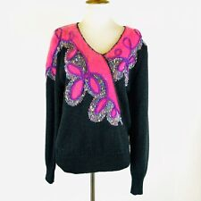Vintage Fully Fashion Womens L Sweater Acrylic Wool Angora Black Fuchsia Flaws