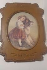 Lrg Vintage Homco Home Interior Picture Girl St Bernard Detailed Plastic Frame