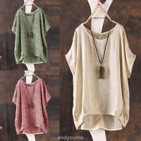 Womens Summer Batwing Short Sleeve Blouse Casual Loose Soild Tops Shirt T-shirt