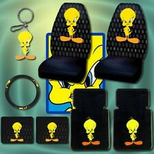 8pc Tweety Bird Car Mats Seat Covers Steering Keychain