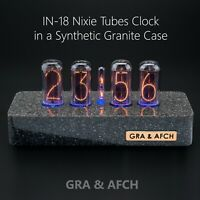 IN-18 Nixie Tubes Clock Synthetic Granite Case GPS 12/24H Temp F/C FREE SHIPPING