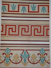 Litho couleur DÉCORATION ARCHITECTURE FRISE PAPIER PEINT 1860 NAPOLÉON III d
