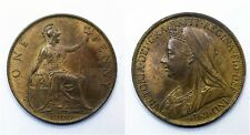 1900 UK 1 One Penny - Victoria 3rd portrait - aUNC - Lot 99