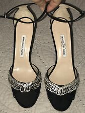 NEW Manolo Blahnik Black Satin Rhinestone open Toe sandals Heels MISMATE 40 40.5