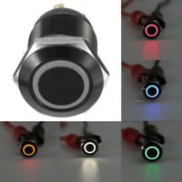 4 Pin 12V Angel Eye LED Light Metal Push Button Momentary Switch Waterproof 12mm