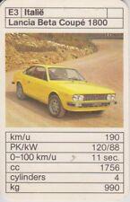 Kwartet kaart / Quartet Card / Spielkarte Cars Lancia Beta Coupe 1800