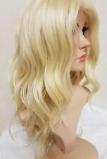 human hair lace wig, Swiss lace, silk based lace, hand tied, bleach blonde